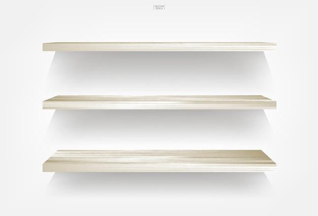 柔らかい影と白の背景に空の木製の棚。