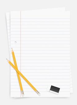 白い紙のシートの背景に鉛筆と消しゴム。