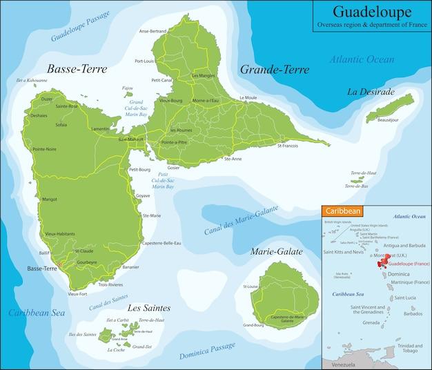 グアドループの地図