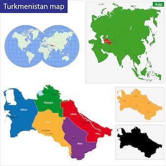 トルクメニスタンの地図
