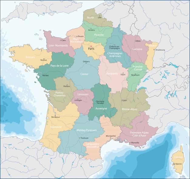 フランス共和国の地図