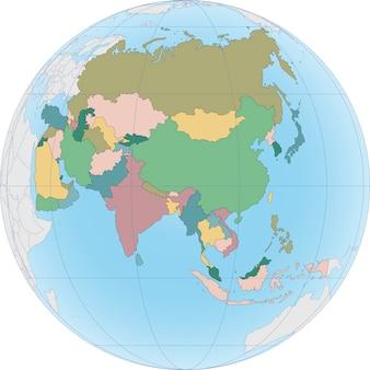 Азиатский континент разделен по странам на глобусе