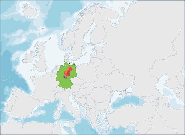ヨーロッパ地図上のドイツ連邦共和国の場所