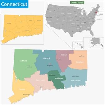 Карта коннектикута