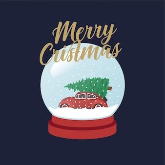 クリスマスツリースノーボール付き車