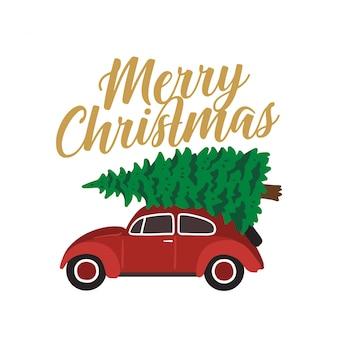 クリスマスツリーを運ぶ赤い車