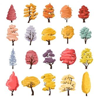 木のイラスト集。自然や健康的なライフスタイルのトピックを説明するために使用できます。