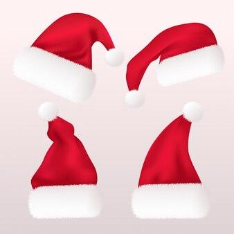 Реалистичная красная шапка санта-клауса, изолированные на белом фоне. градиентная сетка шапка деда мороза с мехом. иллюстрации.