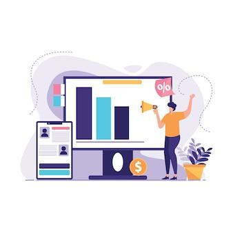 Продвижение бизнеса рекламная иллюстрация