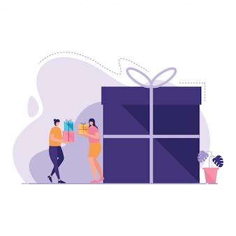 Люди имеют подарочную коробку иллюстрации