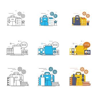 現代のブリーフケースと仕事のアイコンベクトル