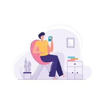 Человек расслабляющий кресло векторная иллюстрация