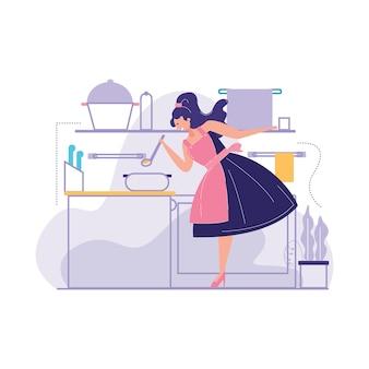 女性調理キッチンベクトル図