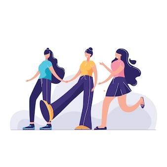 Задний вид группа женщина разнообразная женщина друзья ходить вместе векторная иллюстрация