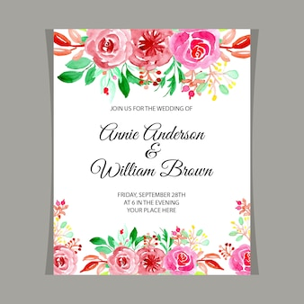 結婚式招待状に水彩画の花