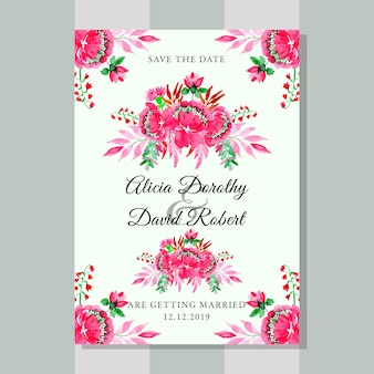 水彩フラワーピンクの花と結婚式招待状