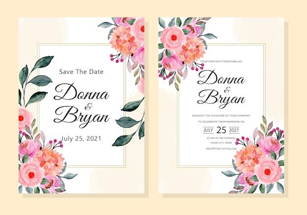 Свадебное приглашение с розовым цветочным акварельным фоном