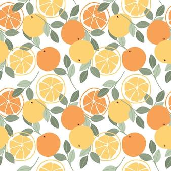 オレンジフルーツシームレスパターン