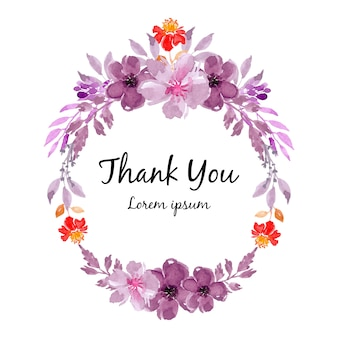 紫の水彩の花の花輪のフレーム