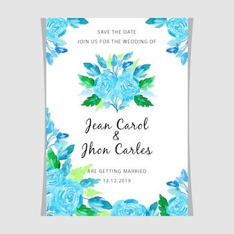 結婚式の誘惑カードの水彩の花の青緑