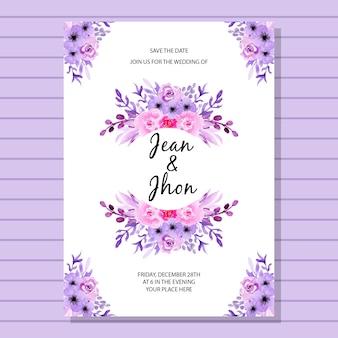 結婚式の招待状のカードの水彩の花のストライプの背景