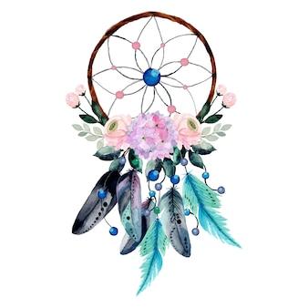 花と羽を持つ水彩ドリームキャッチャー