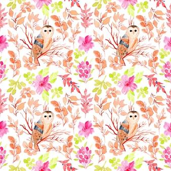 フクロウの水彩フラワーシームレスパターン