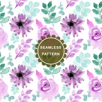 緑色の紫色の水彩フラワーシームレスパターン