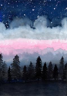 水彩松の木と星の背景