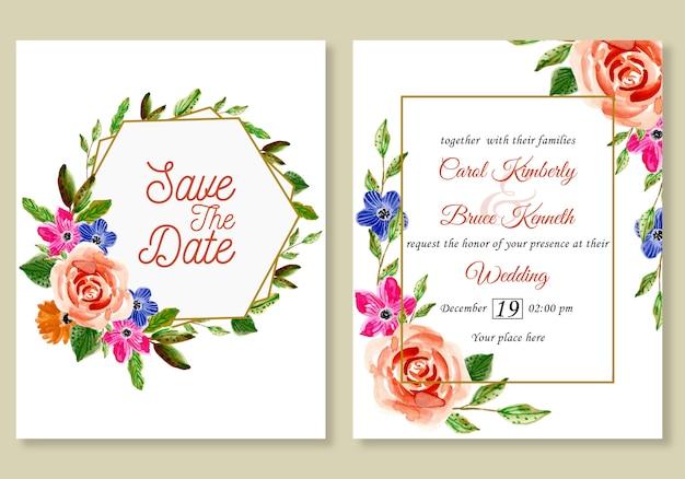 水彩画の花と結婚式の招待カード