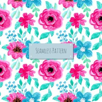 ブルーバイオレット水彩花柄シームレスパターン