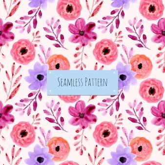 紫色の水彩花柄シームレスパターン