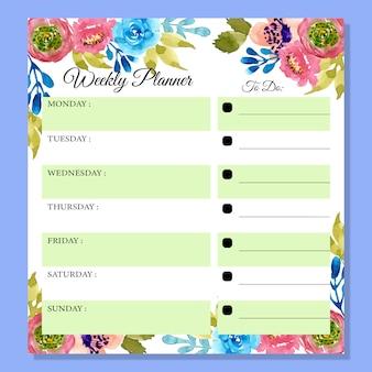 美しい花の水彩画と毎週のプランナー