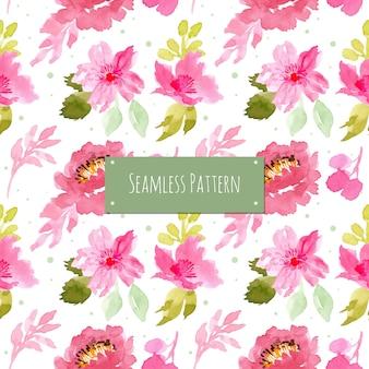 水彩花とピンクとグリーンのパターン
