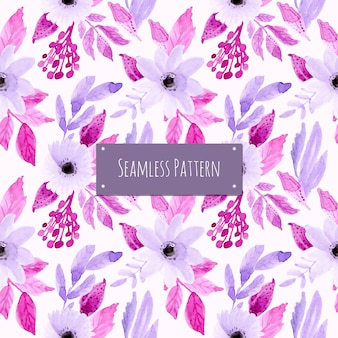 水彩画の花と柔らかい紫色のパターン