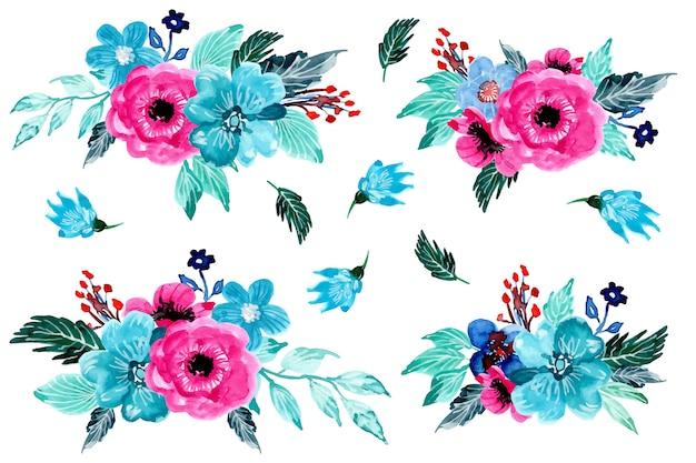 美しいアレンジメント花の水彩画コレクション