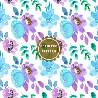 Мягкий синий фиолетовый акварельный цветочный узор