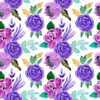 水彩画の花と緑の紫色のパターン