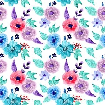 水彩画の花と非常にシームレスなパターン