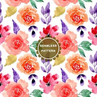 美しい水彩画の花のシームレスパターン