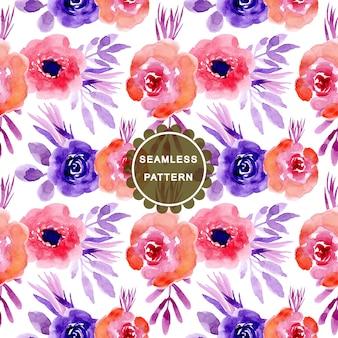 ピンク紫水彩花シームレスパターン