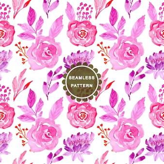ピンクとブルーの水彩画の花のシームレスパターン
