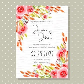 水彩画の花とカラフルな結婚式の招待カード
