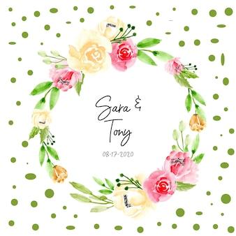 緑の水彩画の花の花輪