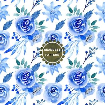 Синий акварельный цветочный бесшовный узор