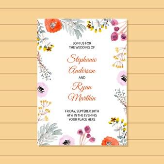 美しい花のフレームと結婚式の招待状