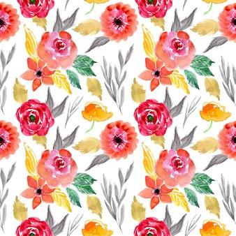Бесшовный фон с акварельной цветочной