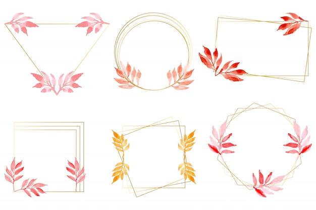 ゴールドフレームコレクションと水彩画の葉