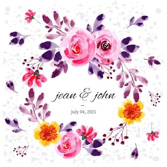 ピンク紫水彩花と葉の花輪