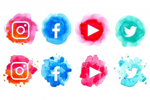 水彩のソーシャルメディアのアイコンのコレクション